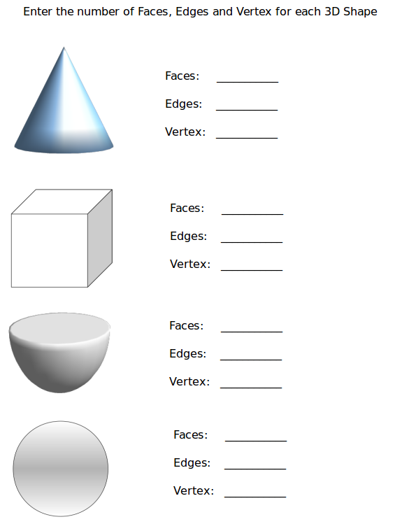 Go to 3D Shapes Worksheet Faces, Edges and Vertices - Worksheet #1
