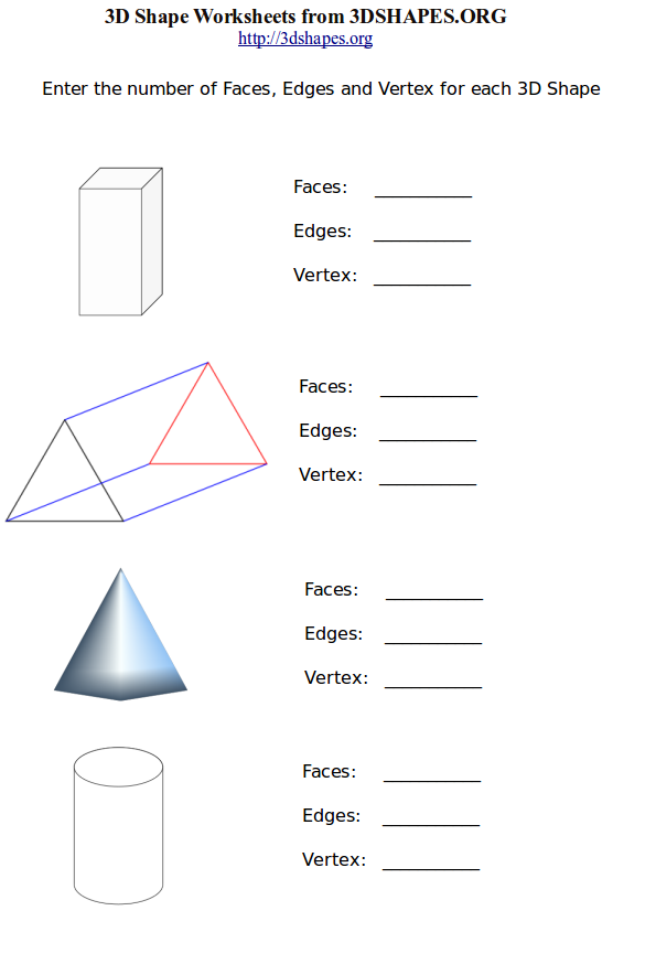 Printables Faces Edges And Vertices Worksheet printable 3d shape worksheets 2 faces edges vertices shapes worksheet