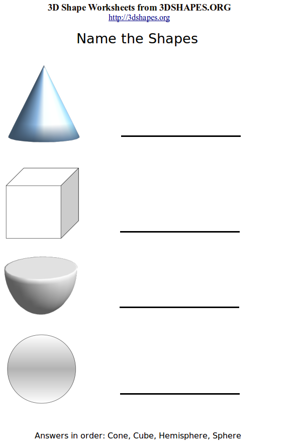 pictures of 3d shapes. Name the 3D Shapes Worksheets