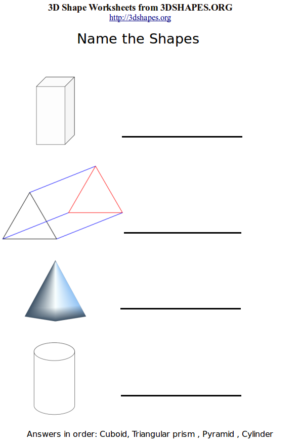 the 3d shapes worksheets 2 contains the following 3d shapes cuboid ...